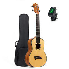 "Solid Spruce Top Concert Ukulele Mahogany Hawaii Guitar W/Bag JOYO Tuner 23"""