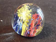 Small Glass Paperweight Colorful Bust Fireworks or Flowers 2 Inch Diameter