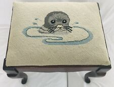 """Vtg Needlepoint Seal Otter Embroidered13.5"""" Foot Stool Antique Tapestry Ottoman"""