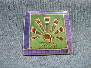 Vintage hand painted paper designs signed Mag Tuttle Turkey pin
