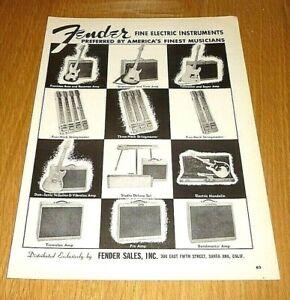 FENDER GUITARS & AMPS 1950'S FULL PAGE ADVERT SIZE : 20CM/28CM