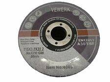 Cutting Grinding Wheel Discs Metal 115mm x 3.2mm x 22mm Pack of 50 Vewerk 8065