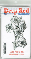 Deep Red Cling Stamps - Lilies Pen & Ink - NEW