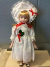 New Porcelain Doll Baxter & Smythe 8 Inch Girl in White Holiday eyelet lace dres