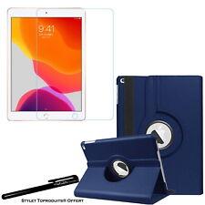 Housse Etui Rotatif Bleu pour Apple iPad 10.2 2020 + Vitre de protection