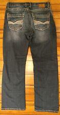 EUC Tyler Buckle jeans 32r BKE distressed dark wash stretch actual inseam 30