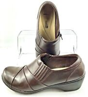 Clarks Channing Essa Loafer Women's Size 8 M Brown Leather Zip Stretch Gore Shoe