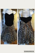 De-Laru Nwt Woman's Black Velvet Bodice Leopard Dressy Evening Dress Size 10