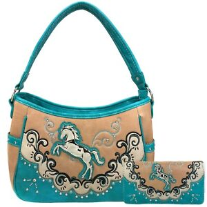 Justin West Mustang Horse Handbag Purse For Girls Women Concealed Carry