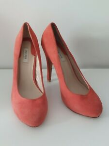 Reiss Coral Pink Orange Stiletto High Heel Shoes Size UK7 Eur 40