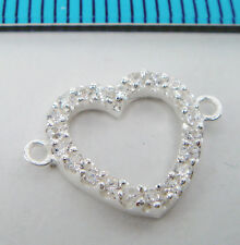 1x BRIGHT STERLING SILVER CZ CRYSTAL HEART LINK CONNECTOR BEAD #1993