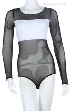 Long Sleeve Partial Solid Upper Mesh Bodysuit Round Neck Snap Button Closure