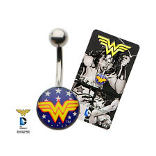 Belly Button Ring 14g 7/16 Navel with White Star Wonder Woman Fixed Logo Charm