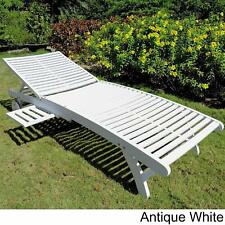 International Caravan Acacia Chaise Lounge with Pull Out Tray, Antique White New
