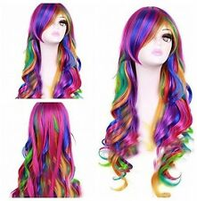 Women Rainbow Long Curly Wavy Hair Full Cosplay Lolita Party Wig Deluxe