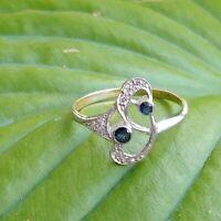 ANTIK STIL Jugendstil Ring Echt 585 Gelbgold Weißgold Echte Diamanten + Saphire