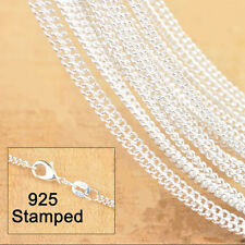 1PCS 20 inch 925 Sterling silver plating Flat Curb Chain Necklaces