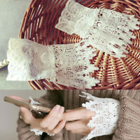 Girls Hollow Floral Layered Lace Cuffs Shirt False Sleeves Costume Decor