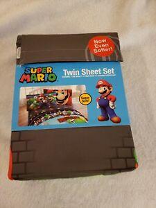Nintendo Super Mario Twin Sheet Set, 3 Piece - Flat, Fitted, Pillowcase