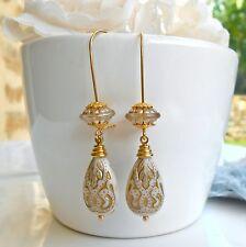 Boucles d'Oreilles Dormeuses Rétro Oriental Perles Gouttes Gravées Ivoire & Doré