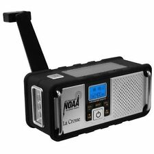 La Crosse Digital AM FM NOAA Weather Radio Solar Panel and Crank Power Charging