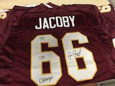 Joe Jacoby Signed Auto Redskins Jersey w/Inscription JSA Witness