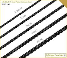 18k IP Black Gold Plated Stainless Steel Round Box Chain Bracelet and Necklace