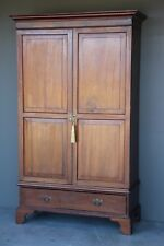 Antique English Georgian two door wardrobe solid mahogany armoire large cabinet
