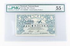 1920 Denmark 5 Kroner Note (AU-55 NET PMG) National Bank Danmark Five Kr P-20g