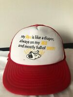 Vintage Baseball Hat Snapback Cap Trucker Mesh Red and White