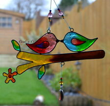 STAINED GLASS COLOURFUL LOVE BIRDS HANGING SUN CATCHER HOME - WINDOW DECORATION