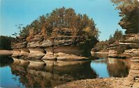 Lone Rock Lower Dells Wisconsin WI Winnebago belived Spirits in Dells Postcard