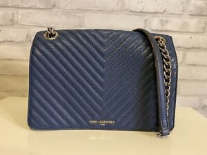 Chanel's Designer KARL LAGERFELD Quilted Blue PARIS Leather CHEVRON Shoulder Bag