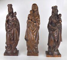 Trois sculptures de Vierge en bois sculpté