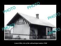 OLD LARGE HISTORIC PHOTO OF LEMERT OHIO, THE RAILROAD DEPOT STATION c1940
