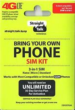Straight Talk Nano Micro Standard Sim Card for At&T Tower Gsm Network Triple Cut