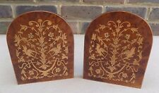 Vintage SORRENTO Inlaid Wooden Bookends