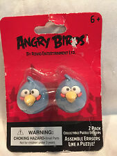 2 Pack Blue Angry Birds Collectible Puzzle Erasers Assemble Like Puzzle New