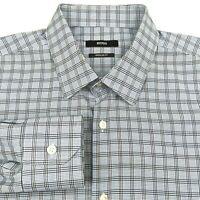 Hugo Boss Mens 16.5 32/33 Button Dress Shirt Regular Fit Blue Plaid Long Sleeve