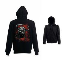 Sweatshirtjacke schwarz Biker -,Gothik-& Tattoomotiv Modell Viking Skull