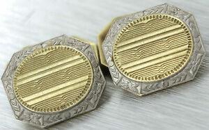 Unique Men's Antique Art Deco Platinum 14K Yellow Gold Hand-Etched Cufflinks