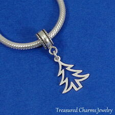 925 Sterling Silver Pine Christmas Tree Dangle Charm - fits European Bracelets