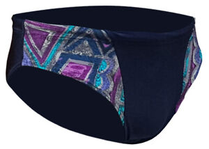 CHEX Mens Brisbane Swimming Swim Brief Elastane Trunks Navy Blue Multicoloured