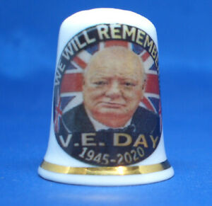 China Thimble - Winston Churchill We Will Remember VE Day 2020 - Free Gift Box