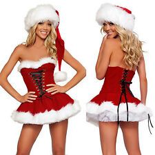 Sexy Women's Christmas Costume Lace Up Cosplay White Fur Skirt Corset