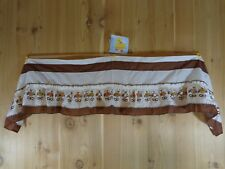 """Vintage Kitchen Valance Brown and White with Floral Petal Holes 54x12"""""""