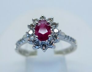 9ct white gold ruby and diamond cluster ring, diamond shoulders size O 375