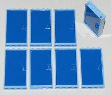 LEGO LOT OF 8 BLUE WINDOWS 1 X 4 X 6 WITH LIGHT BLUE FRAMES CITY HOUSE PARTS