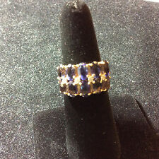 VINTAGE 14K YELLOW GOLD AMETHYST AND DIAMOND RING SIZE 5.5