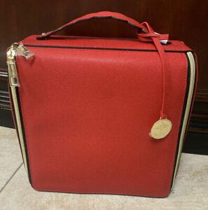 Estee Lauder Blockbuster Beauty Makeup Travel Bag Cosmetic Bag Train Case Red